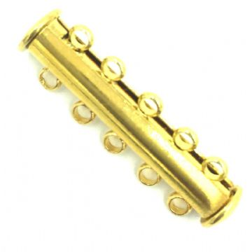 4 x 5 Strands Magnetic Sliding Clasps Gold Plated - S.F06